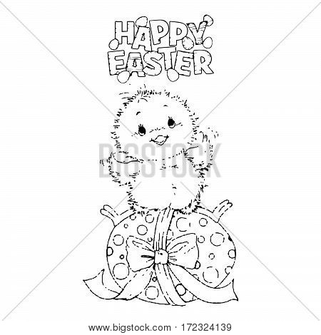 Newborn chick sitting on Easter eggs . Coloring page. Easter