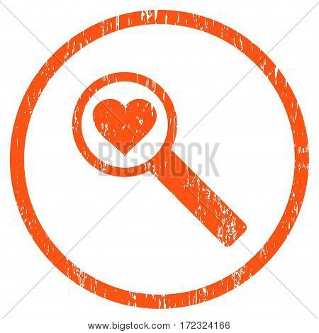 Find Love grainy textured icon for overlay watermark stamps. Rounded flat vector symbol with dust texture. Circled orange ink rubber seal stamp with grunge design on a white background.