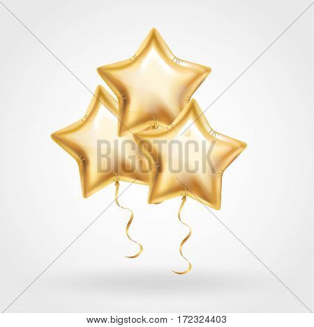Three Gold star balloon on background. Party balloons event design decoration.