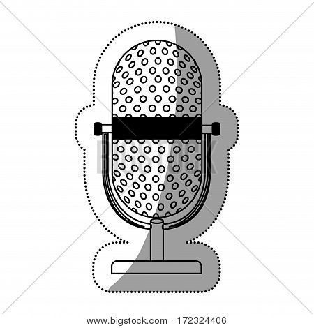 monochrome silhouette contour with studio microphone vector illustration
