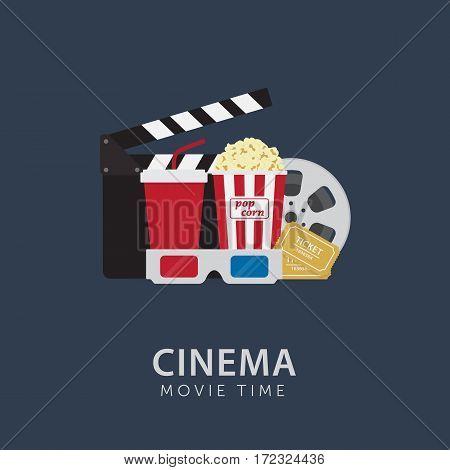 Movie Time Concept. Flat Popcorn, 3D Eyeglasses, Clapperboard, Ticket