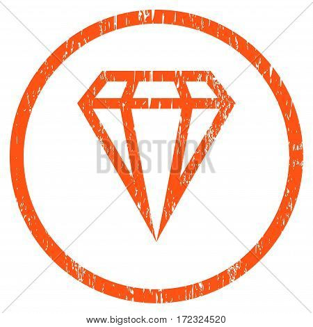 Gem grainy textured icon for overlay watermark stamps. Rounded flat vector symbol with scratched texture. Circled orange ink rubber seal stamp with grunge design on a white background.