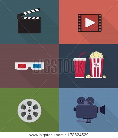 Set of Cinema and Movie icon in flat Syle
