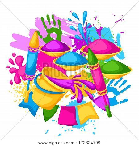 Happy Holi colorful background. Illustration of buckets with paint, water guns, flags, blots and stains.