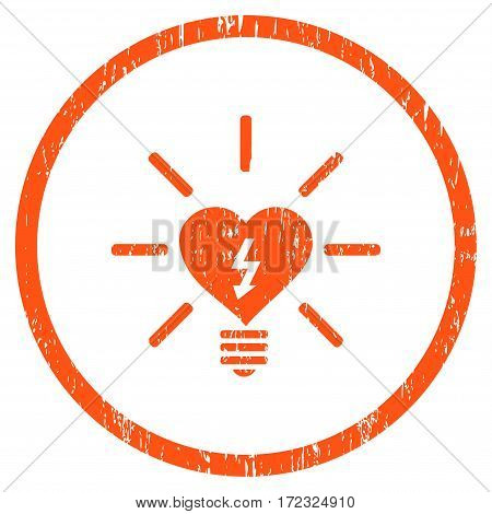 Heart Electric Bulb grainy textured icon for overlay watermark stamps. Rounded flat vector symbol with scratched texture. Circled orange ink rubber seal stamp with grunge design on a white background.