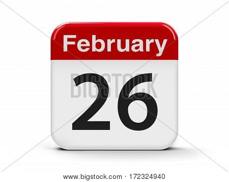 Calendar web button - The Twenty Sixth of February three-dimensional rendering 3D illustration
