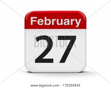 Calendar web button - The Twenty Seventh of February - International Polar Bear Day three-dimensional rendering 3D illustration
