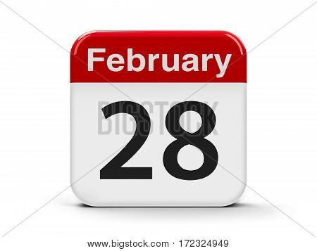 Calendar web button - The Twenty Eighth of February three-dimensional rendering 3D illustration