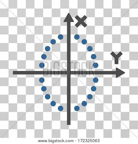 Ellipse Plot vector pictograph. Illustration style is flat iconic bicolor cobalt and gray symbol on a transparent background.
