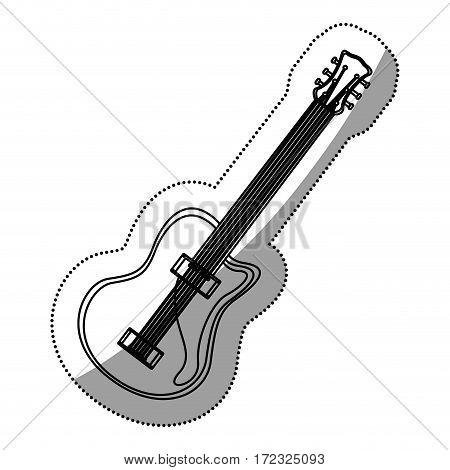 monochrome contour silhouette with electric guitar vector illustration