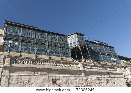 Salamanca (Castilla y Leon Spain): facade of historic building with verandas along the medieval walls