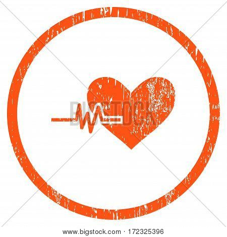 Heart Pulse grainy textured icon for overlay watermark stamps. Rounded flat vector symbol with dirty texture. Circled orange ink rubber seal stamp with grunge design on a white background.