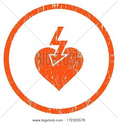 Heart Shock Strike grainy textured icon for overlay watermark stamps. Rounded flat vector symbol with dust texture. Circled orange ink rubber seal stamp with grunge design on a white background.