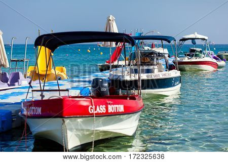 CYPRUS, PROTARAS - 10 OCT 2016: Motor boats in the sea port
