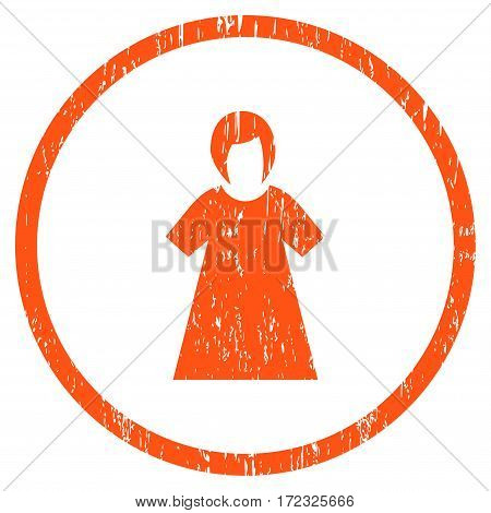 Lady Figure grainy textured icon for overlay watermark stamps. Rounded flat vector symbol with dust texture. Circled orange ink rubber seal stamp with grunge design on a white background.