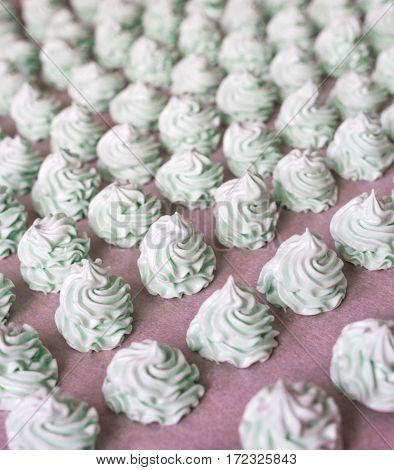 Raws Of Homemade Mint Marshmallow Dessert. Fabrication