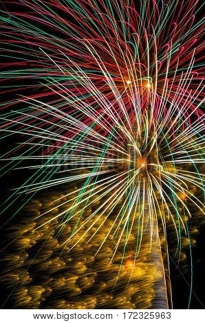 A colorful burst of fireworks shot off in the night sky
