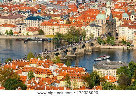 People On Charles Bridge, Prague, Czech Republic