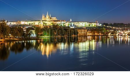 Evening Cityscape Of Prague With Saint Vitus Cathedral, Czech Republic