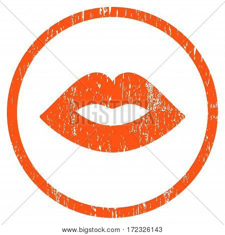 Lips grainy textured icon for overlay watermark stamps. Rounded flat vector symbol with scratched texture. Circled orange ink rubber seal stamp with grunge design on a white background.