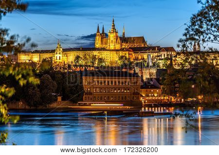 Saint Vitus Cathedral And Vltava River In Evening Lights, Prague, Czech Republic