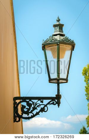 Historical Street Lamp On Wall, Prague