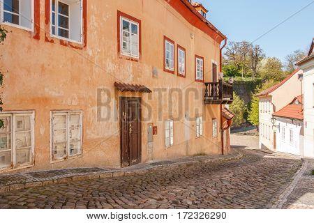 Cerninsca Historic Street In Prague, Czech Republic