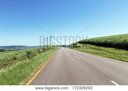 Rural asphalt road curving through green vegetation rural landscape at Shongweni near Durban South Africa