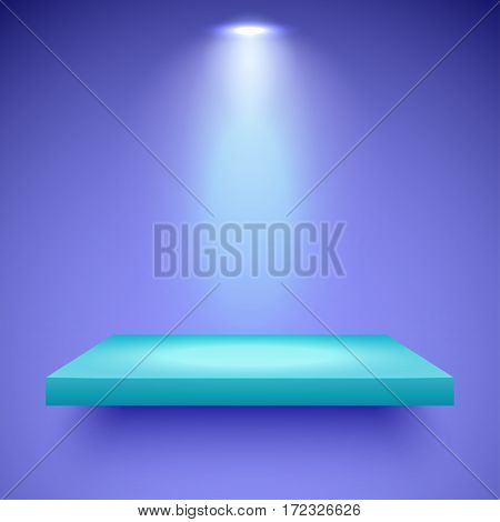 Empty turquoise shelf hanging on a violet wall illuminated by one spotlight. Vector background with boutique showcase or interior decoration. Mockup ready for your design. Vector illustration.