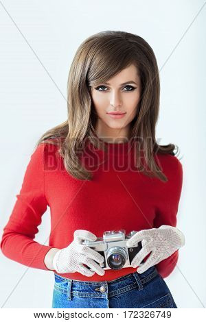 Portrait Of Young Beautiful Woman With Photo Camera In Retro Style