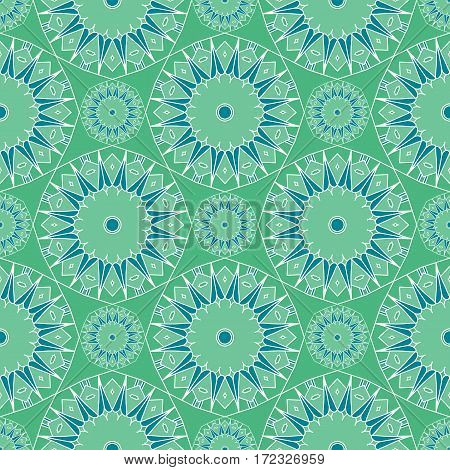 Abstract seamless background. Blue and green repeating kaleidoscope mosaic pattern. Vector