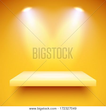 Empty yellow shelf hanging on a yellow wall illuminated by two spotlights. Vector background with boutique showcase or interior decoration furniture. Mockup ready for your design. Vector illustration.