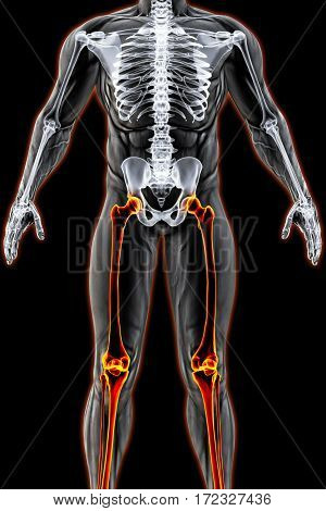male body under the X-rays. legs are highlighted in red. 3D illustration.