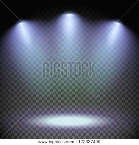 Set of stage illuminated by three spotlights. Scene illumination on transparent background. Cold light effect. Mockup ready for your design. Vector illustration.