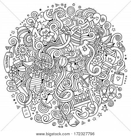 Cartoon cute doodles hand drawn Baby items illustration. Line art detailed, with lots of objects background. Funny vector artwork. Sketchy picture with children theme items