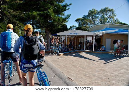 People lining up and waiting to be served at the Pedal & Flipper on Rottnest Island