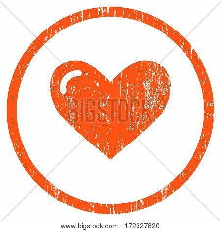 Love Heart grainy textured icon for overlay watermark stamps. Rounded flat vector symbol with scratched texture. Circled orange ink rubber seal stamp with grunge design on a white background.