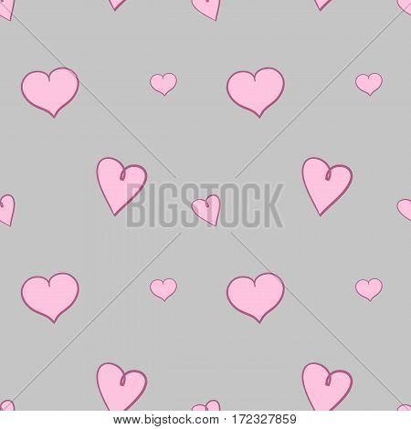 Light pink hearts on gray background seamless pattern. Repeating webpage background for Saint Valentine's Day. Vector