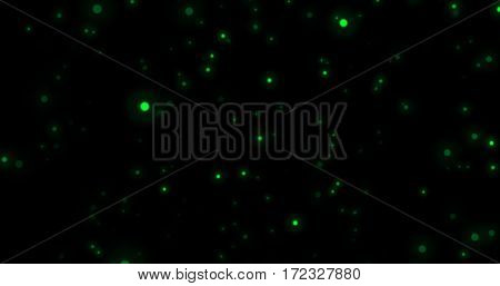 Abstract Green Glitter Explosion on Black Background