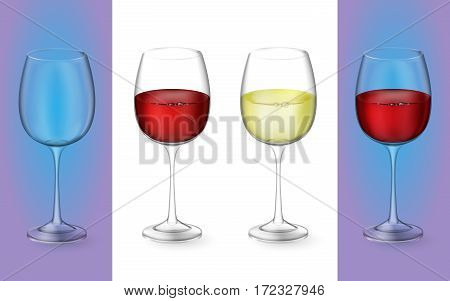 3d realistic vector illustration. Transparent isolated wineglass with red and white wine. Glasses with alcoholic drinks