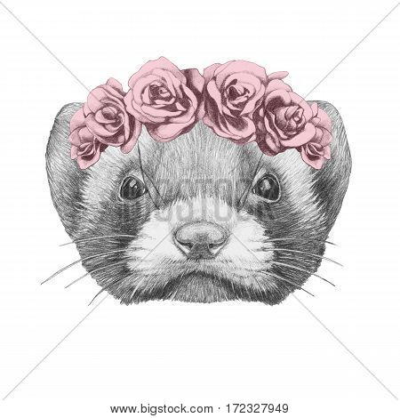 Portrait of Least Weasel with floral head wreath. Hand drawn illustration.