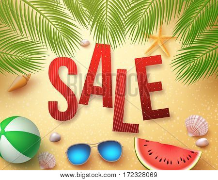 Summer sale vector banner design with palm leaves, elements and objects in beach sand background for holiday promotion. Vector illustration.