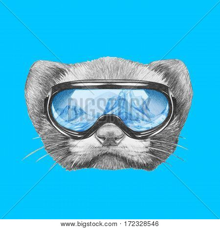 Portrait of Least Weasel with ski goggles. Hand drawn illustration.
