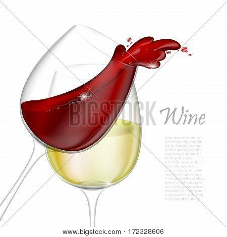 3d realistic vector illustration. Transparent isolated wineglass with red and white wine. Red wine pouring out of a glass splash.