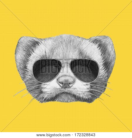 Portrait of Least Weasel with sunglasses. Hand drawn illustration.