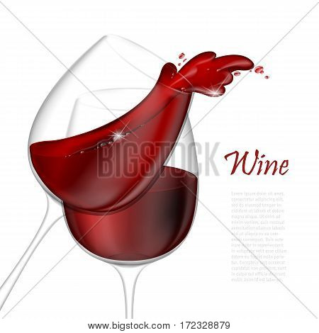 3d realistic vector illustration. Transparent isolated wineglass with red wine. Red wine pouring out of a glass splash.