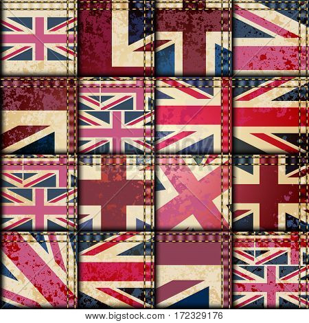 Seamless background pattern. Imitation of a vintage patchwork with the UK flag.