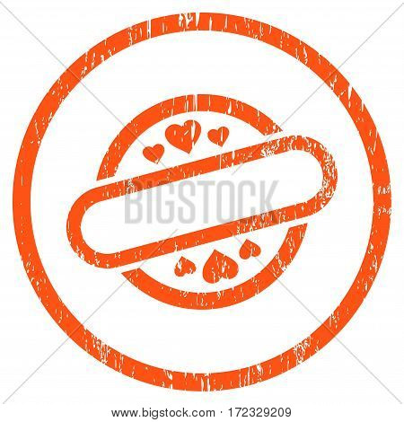 Love Stamp Seal grainy textured icon for overlay watermark stamps. Rounded flat vector symbol with dust texture. Circled orange ink rubber seal stamp with grunge design on a white background.
