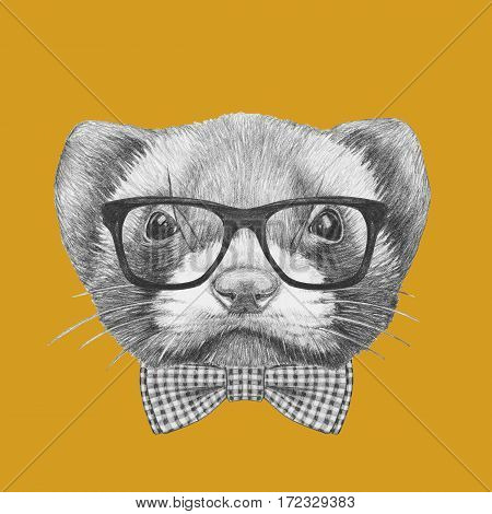 Portrait of Least Weasel with glasses and bow tie. Hand drawn illustration.