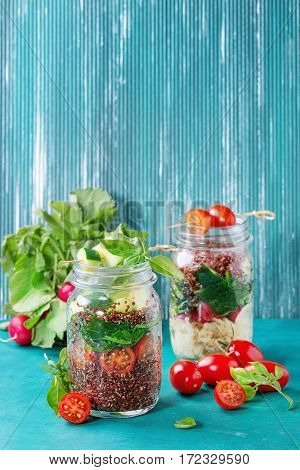Salads With Quinoa In Jars